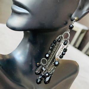 Black Beaded Chandelier Dangle Earrings